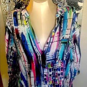 Avenue long sleeve button up blouse top plus 18/20